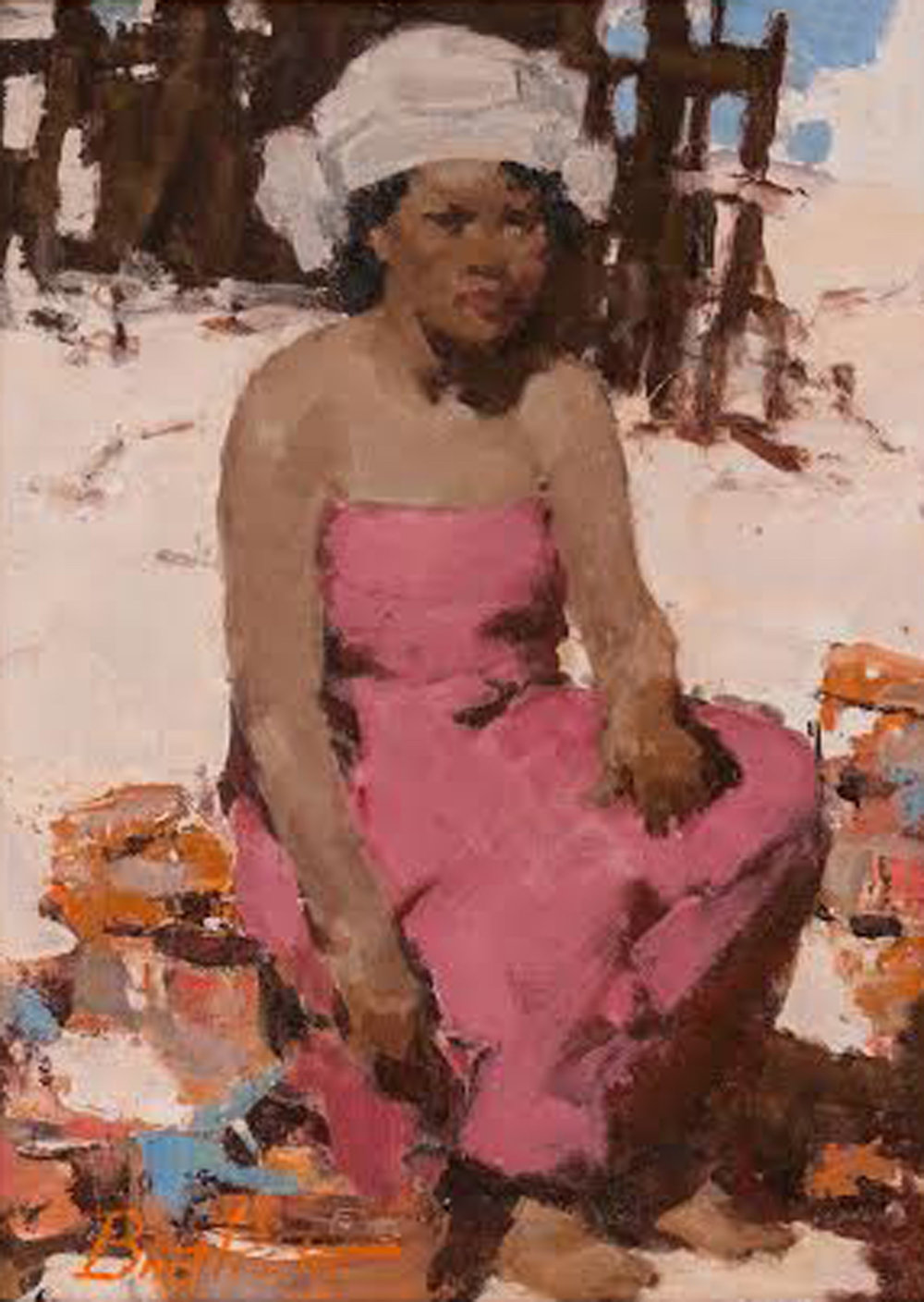 The Pink Dress, 16 x 12, oil on board