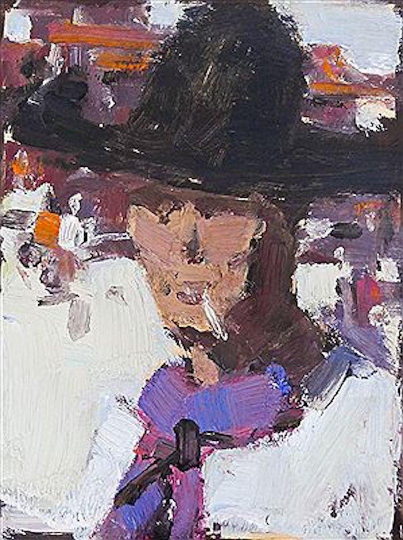 Untitled Cowboy Portrait, 6 x 5, oil on paper