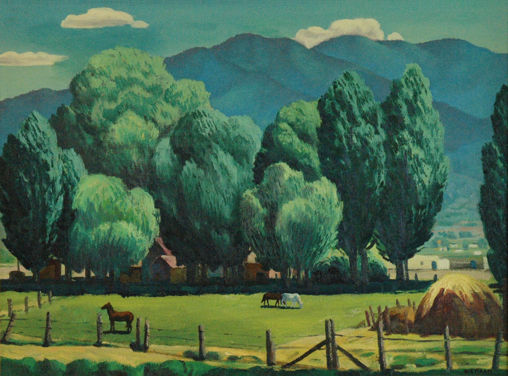 A Taos Home, 26 x 35, oil on canvas, 1939, signed LR