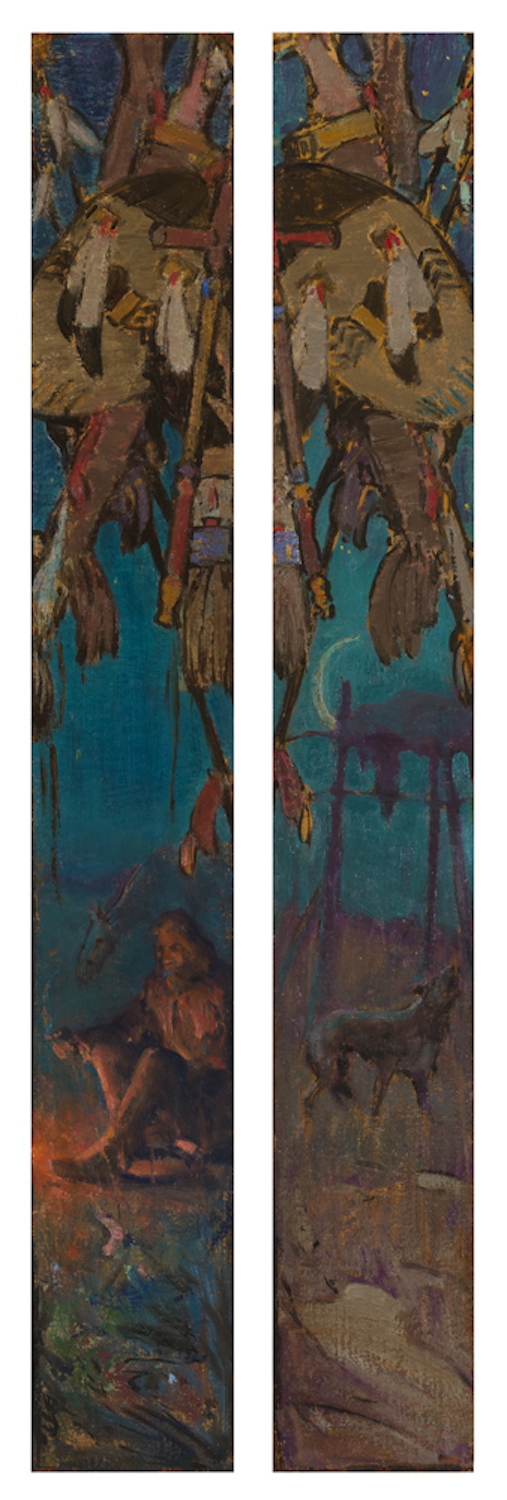 Study for Dawn of the West (pair), 32 x 6 (each), oil on canvas board