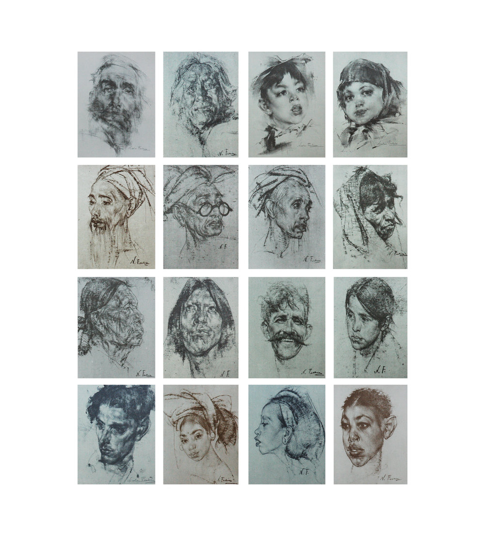 Lithograph Portfolio- 16 prints of charcoal drawings