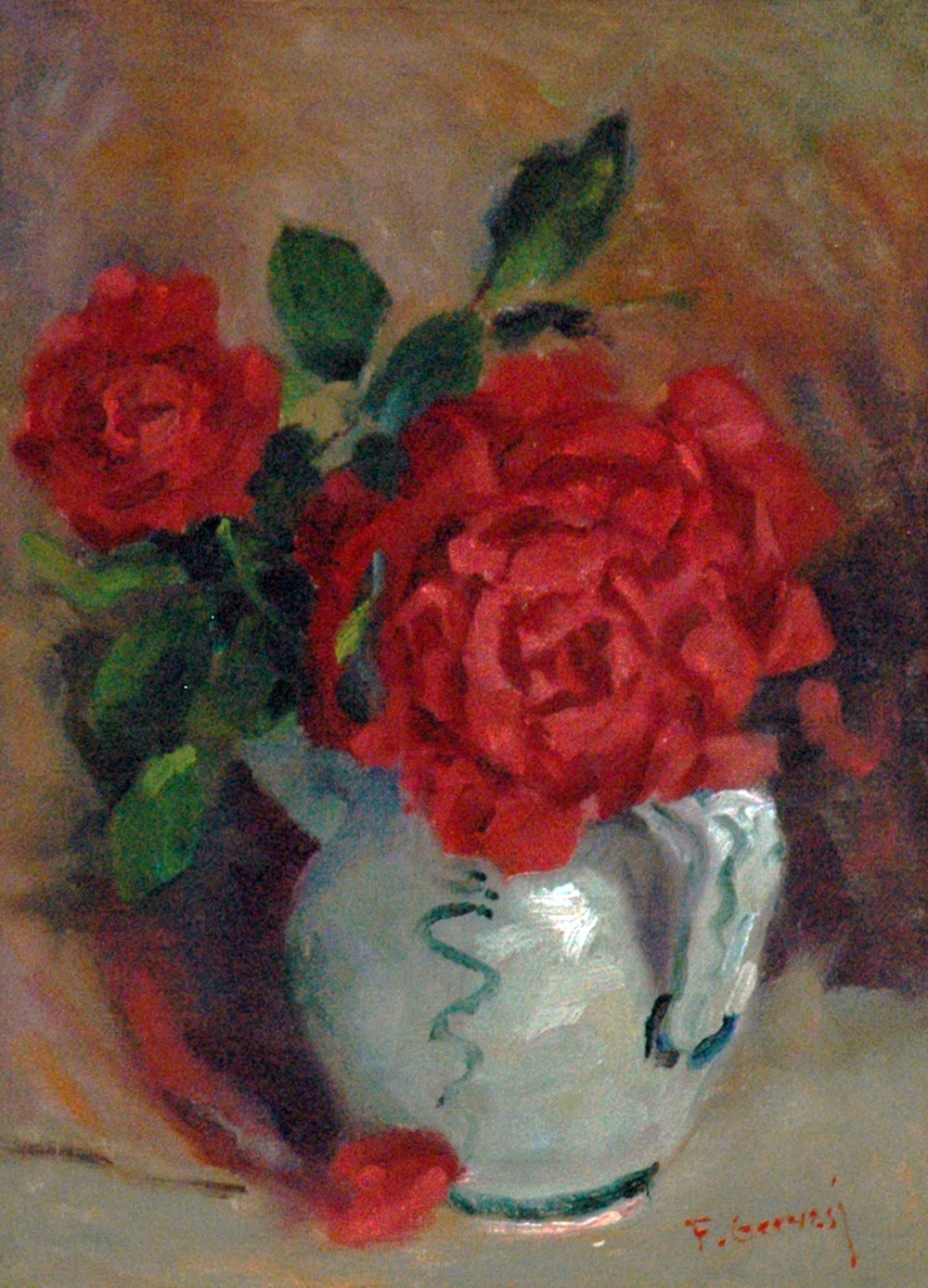Red Roses in White Vase, 12 x 9, oil on canvas