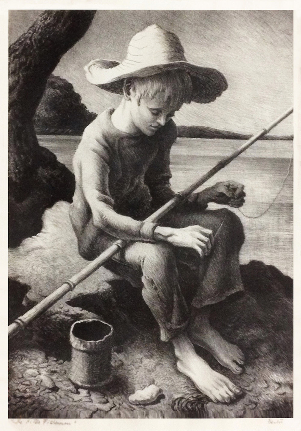 The Little Fisherman, 14 x 10, lithograph