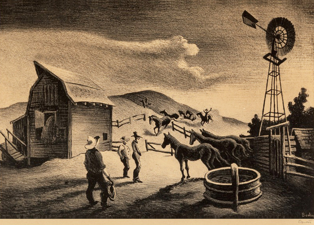 The Corral, 9.5 x 15, lithograph