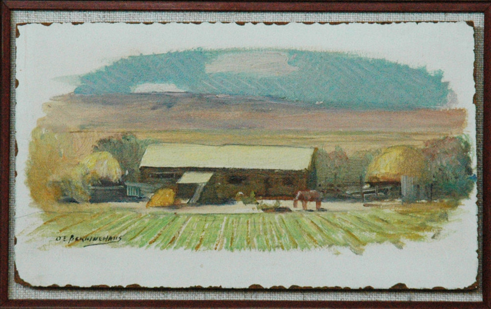 Farm Home of Taos, 4 x 8.5, oil on panel