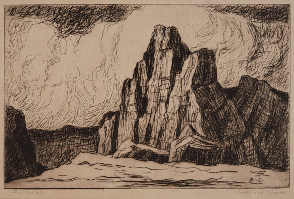 Rocks and Clouds, 7 x 11, etching