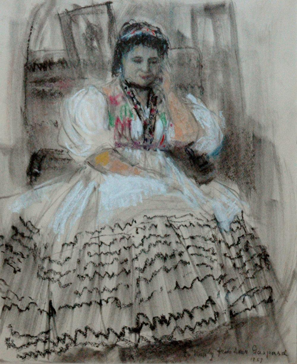 *sold* Sketch of Noula Kararas, 16 x 14, pastel