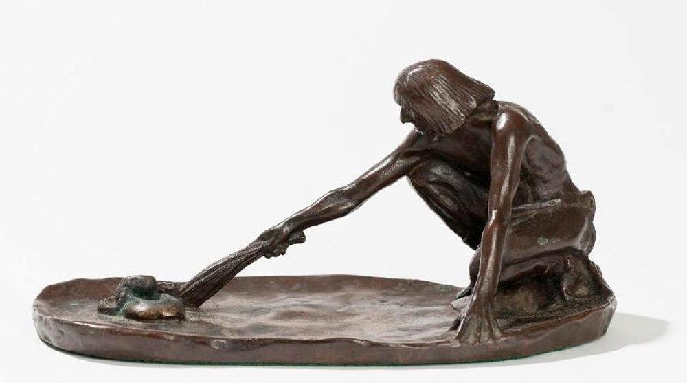 The Snake Priest, 4 x 8.75 x 4.25, bronze