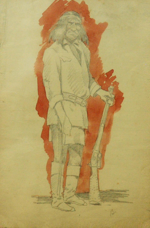 Geronimo, 8.5 x 5.5, watercolor and pencil