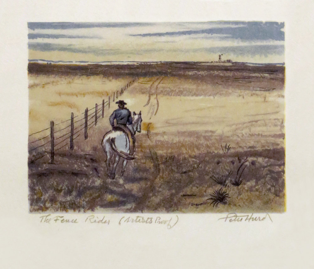 The Fence Rider, 5.5 x 7.5, watercolor