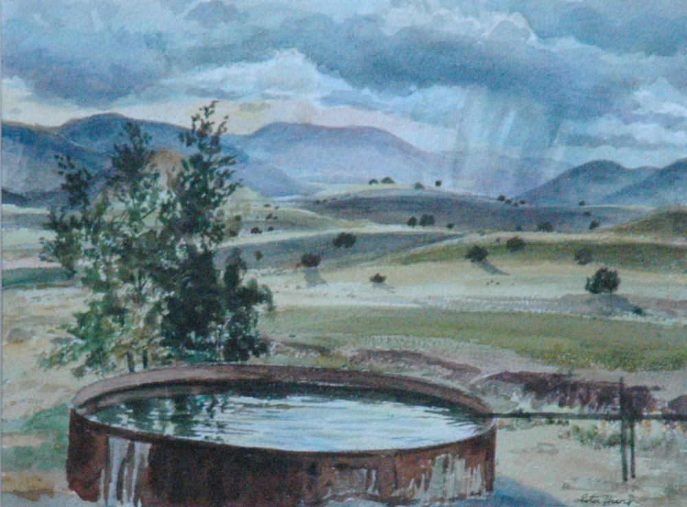 Watertank Clouds Mountain Shower, 9 x 12, watercolor
