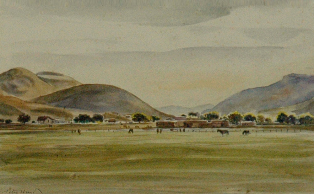Adobe House with Cattle in Meadow, 6 x 10, watercolor