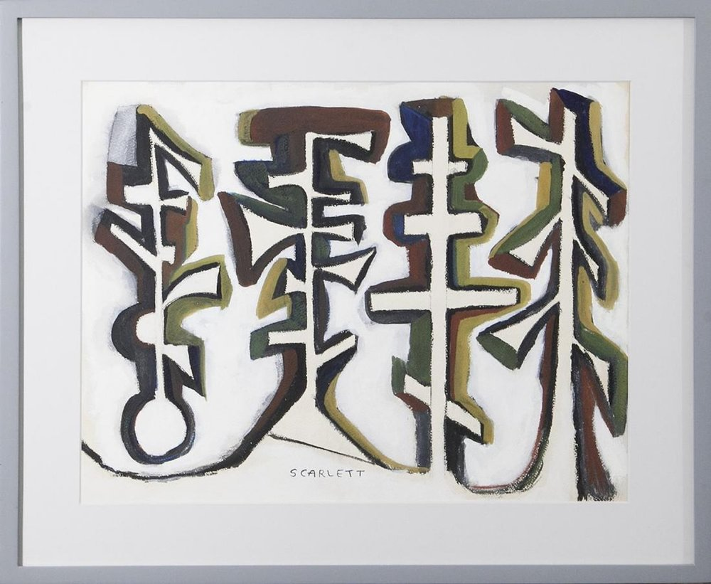Abstraction, 14 x 18, gouache on paper, 1950, signed lower middle