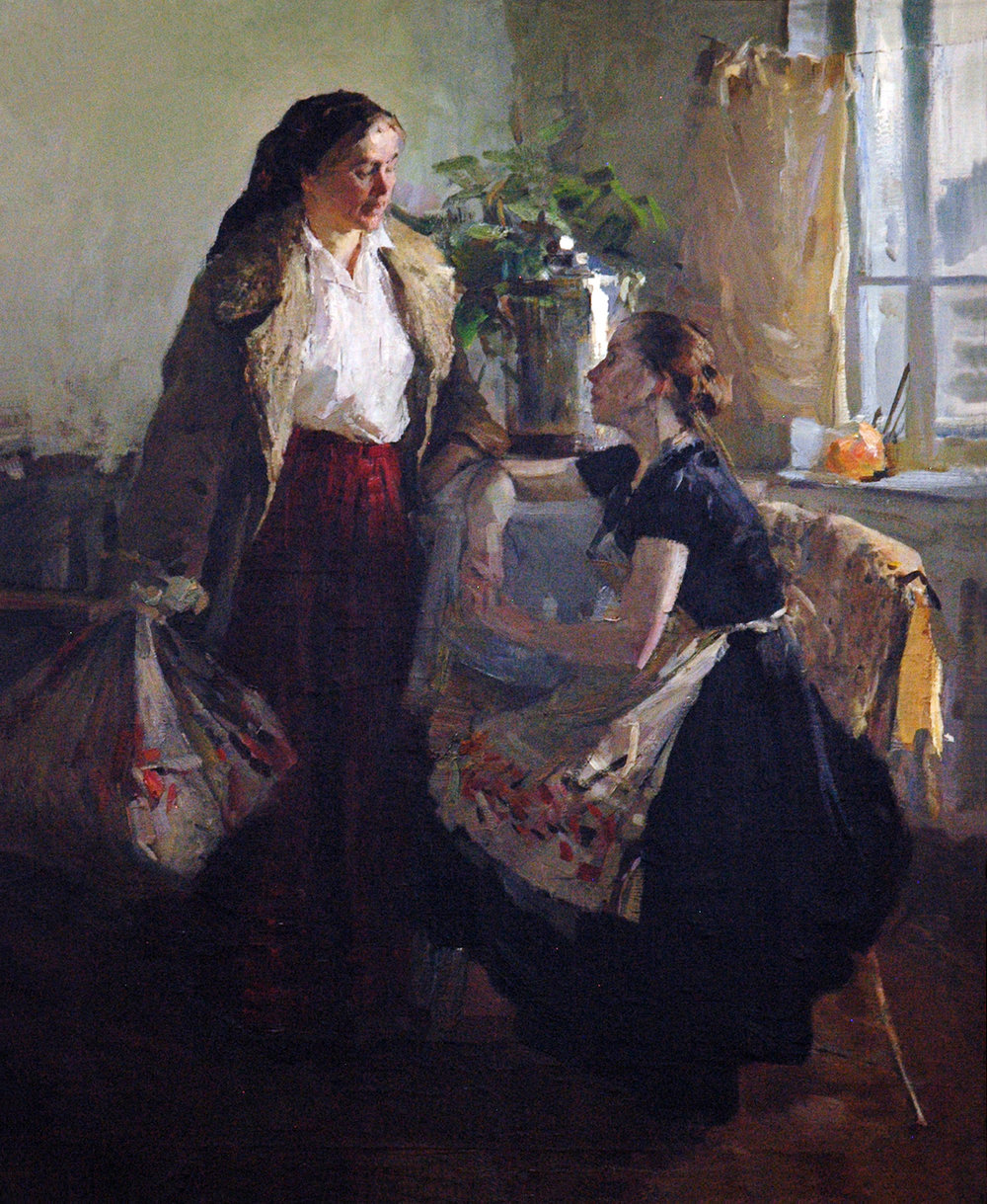 Mother and Daughter, 47 x 39, oil on canvas, 1957