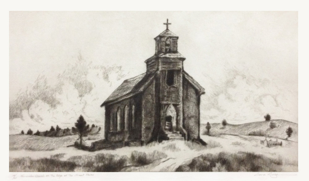 Forsaken Church on Edge of G P, 14 x 11, etching and drypoint, 14 of 25
