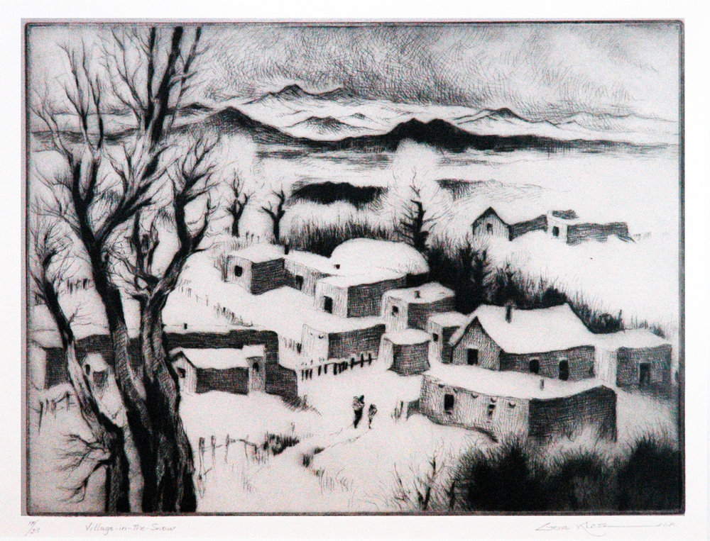 Village in the Snow, 9 x 12, etching
