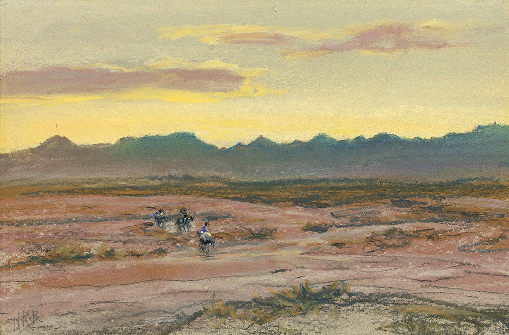 Landscape with Riders, 6 x 9, pastel