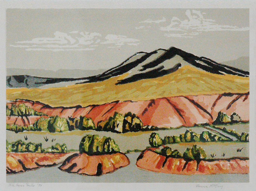 Wild Horse Peaks, 11 x 15, colored woodblock print