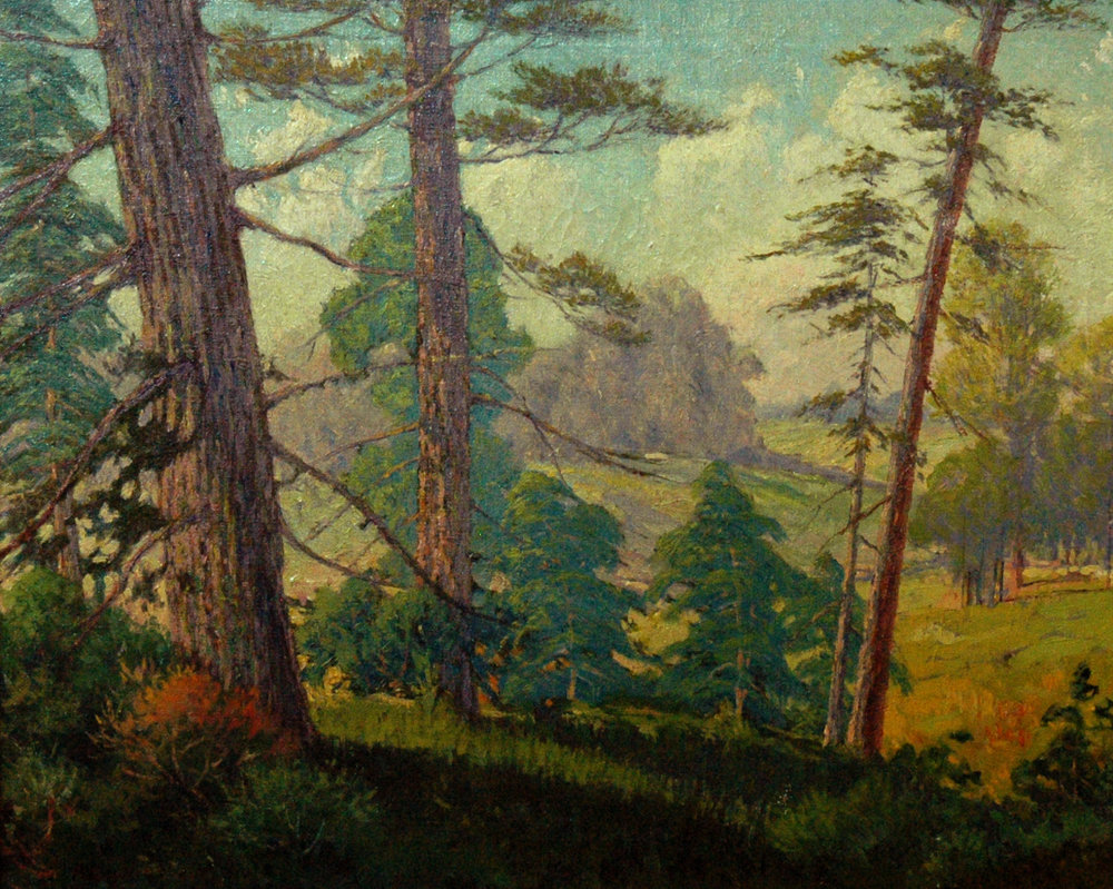 In the Pines (Illustrated in M. Grauer TX Art Dictionary), 18 x 24, oil on canvas