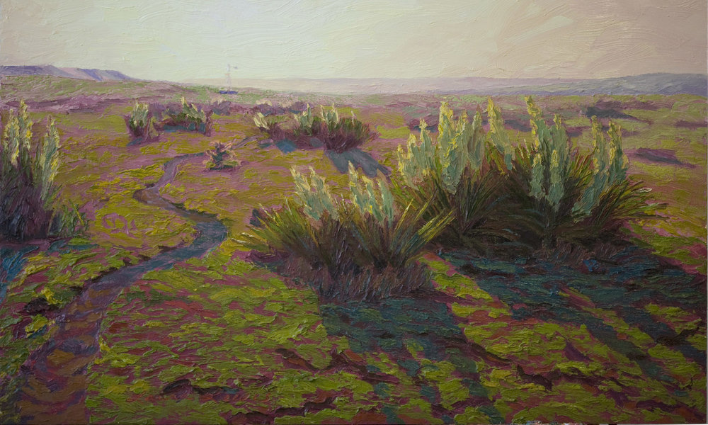*sold* Cow Trail on the Border, 24 x 40, oil on panel, 2012