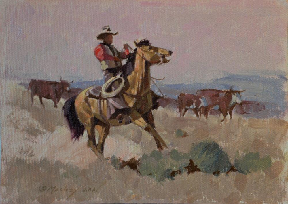 Buckskin, 5 x 7, oil on canvas