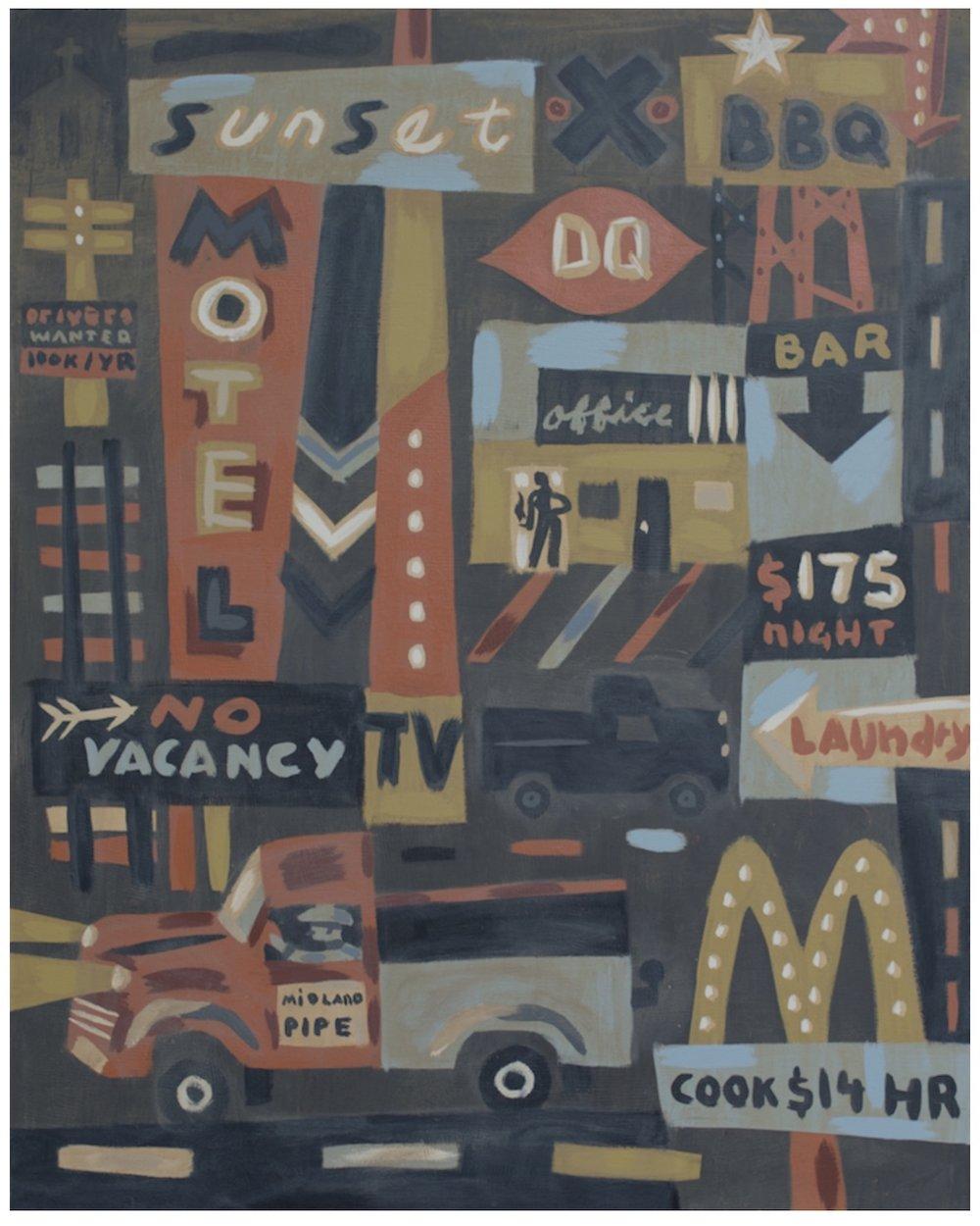 Midland after Midnight, 60 x 48, oil & acrylic on canvas, 2014