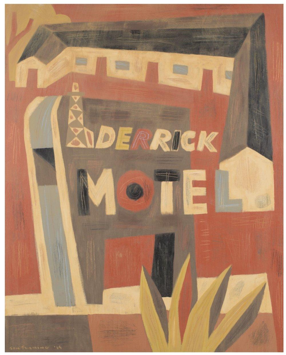 Derrick Motel (abandoned motel east of Abilene), 60 x 48, oil & acrylic on canvas, 2014