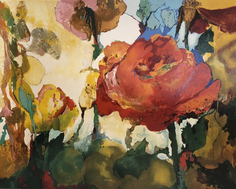 Rose Landscape, 30 x 40, Serigraph on paper, Edition of 150 with 10 APs, Signed LR:  Nix, Numbered LR:  8/10, Verso:  Patricia Nix N.A., a.p. serigraph on paper