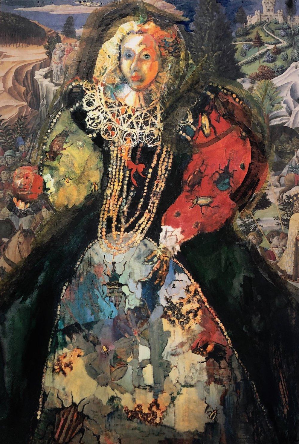 Elizabeth I, 32.25 x 22.25, Collage on paper, 1985, Signed LR:  Nix