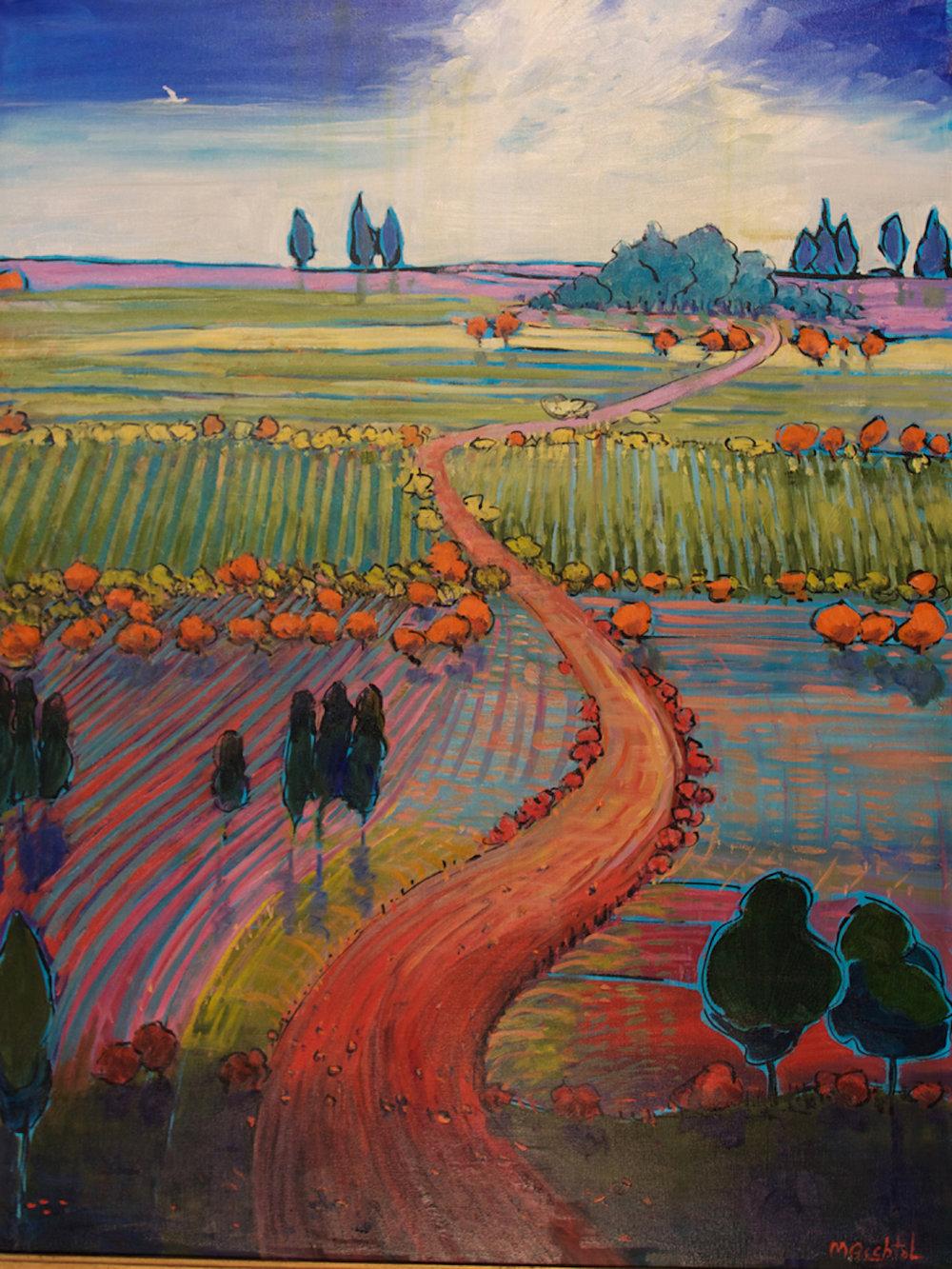 Road through Autumn Field, 40 x 30, oil on canvas