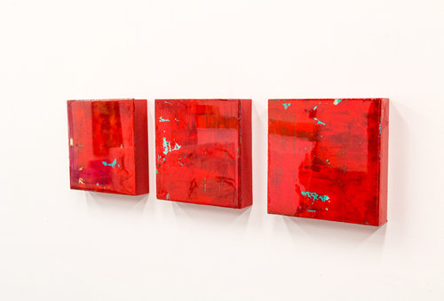 Bold Series, Red, 8 x 8 each, acrylic and resin on board