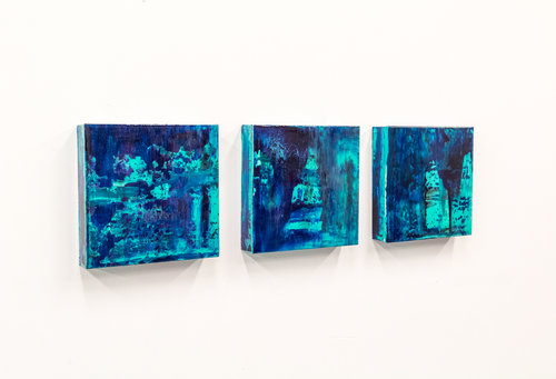 Bold Series, Ubud, Minis, 8 x 8 each, acrylic and resin on board