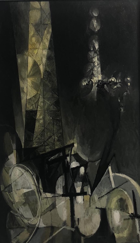 Winter Night, Derrick in Snow, 50 x 30, oil on canvas, 1959
