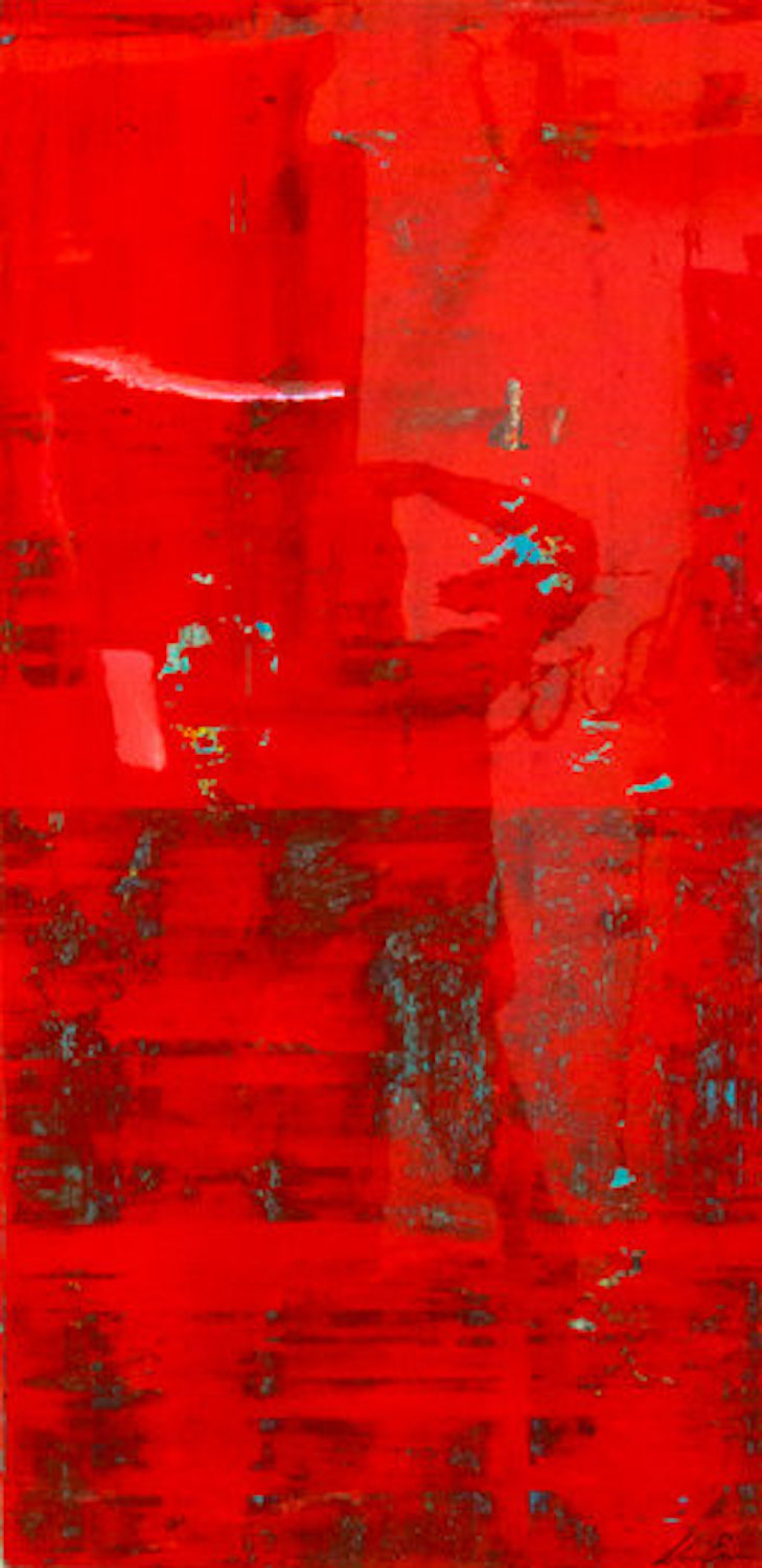 Bold Series, Red, 48 x 24, acrylic and resin on board