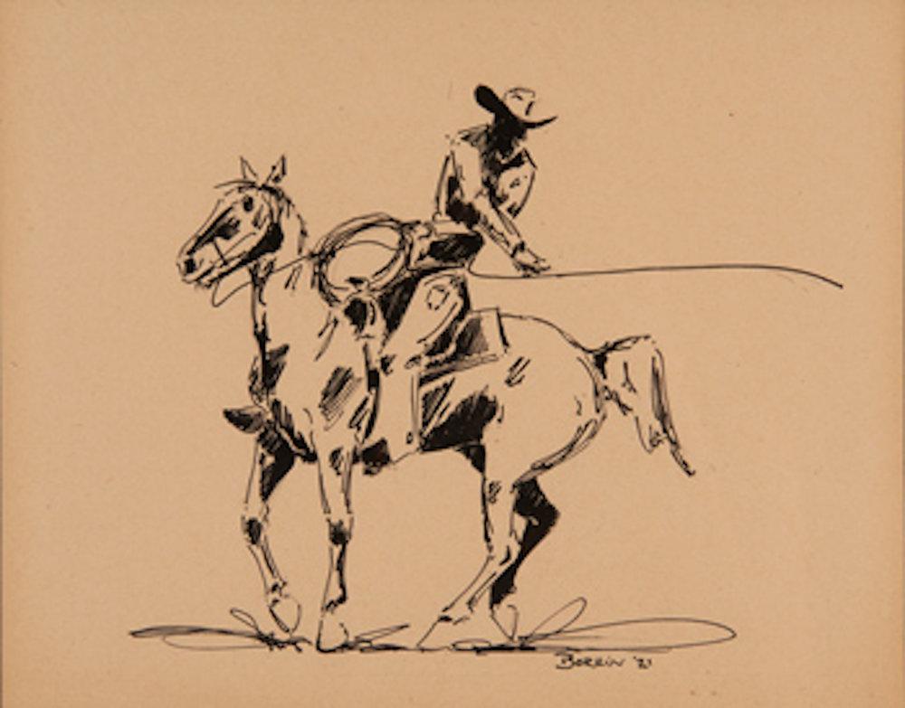Cowboy Roper, 8.5 x 11, pen and ink, 1921