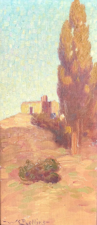 Adobe in a Landscape, 16 x 7, oil on board