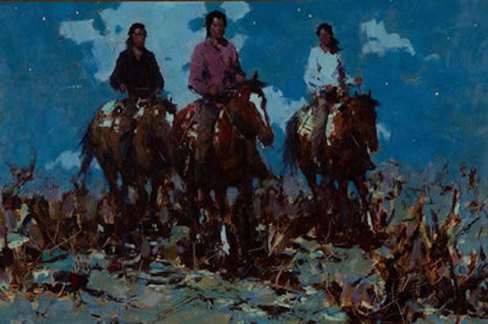 Night Riders, 20 x 30, oil on board