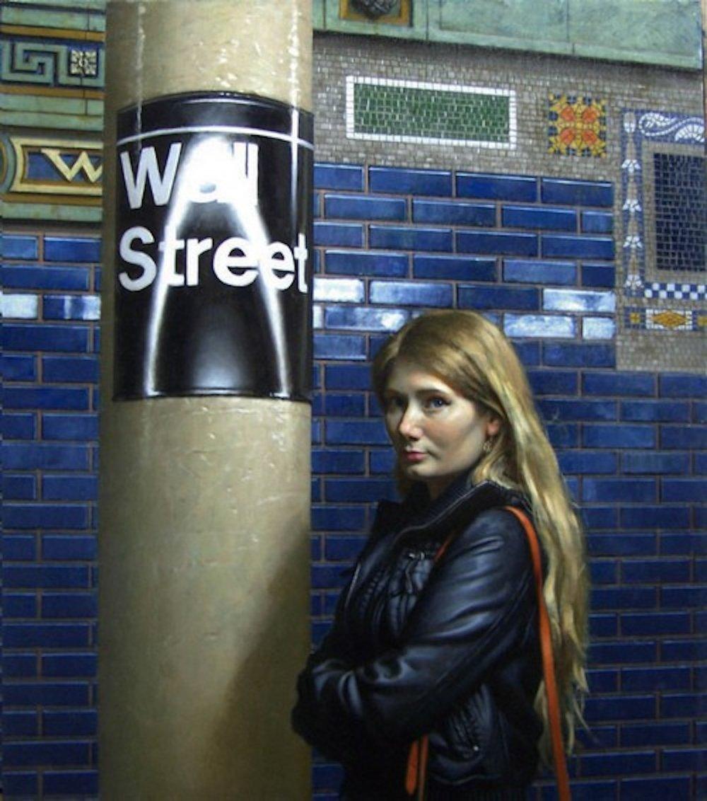Renee - Wall St., 38 x 33, oil on linen