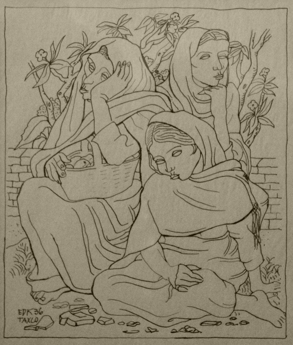 Taxco Women, 14 x 12, ink on paper, 1936