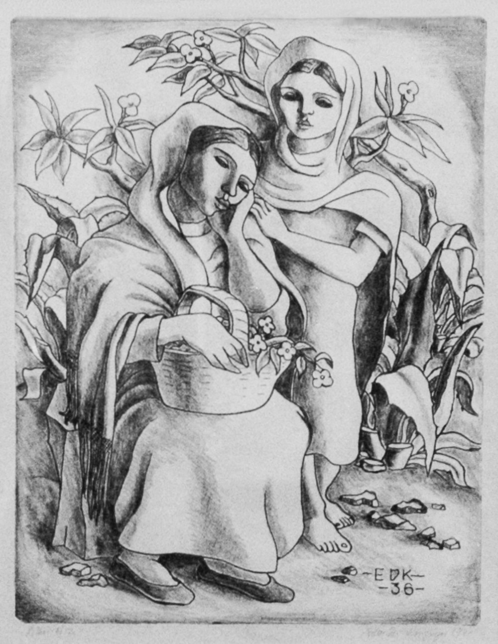 Taxco Women, 12 x 9, Lithograph, 1939