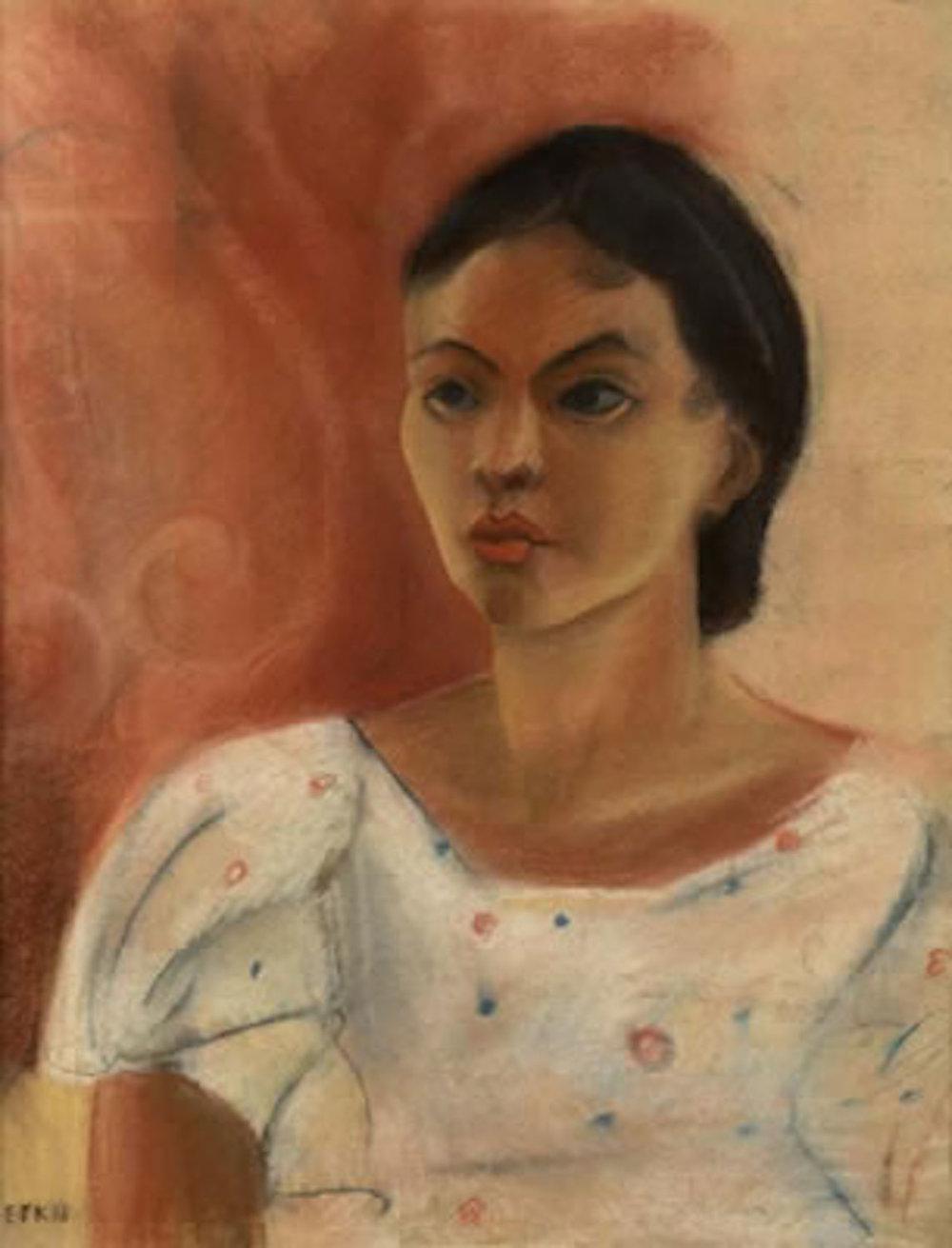 Portrait of Woman, 24 x 18, pastel on paper, 1938