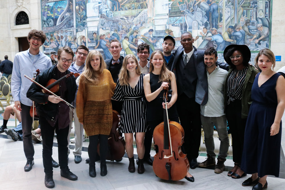Photo from September 9 at the Detroit Institute of Arts.   Back row, from left: Jasper Zientek, Eliot Heaton, Kellen Degnan, Jacob Rogers, Ben Willis, Jherrard Hardeman, Michael Malis, Jordyn Davis, & Sonya Belaya.  Front row, from left: Yuri Popowycz, Molly Jones, Harriet Steinke, & Wesley Hornpetrie.