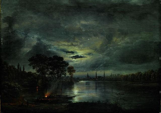 """Johan Christian Claussen Dahl """"Dresden i måneskinn"""" (1823)."""