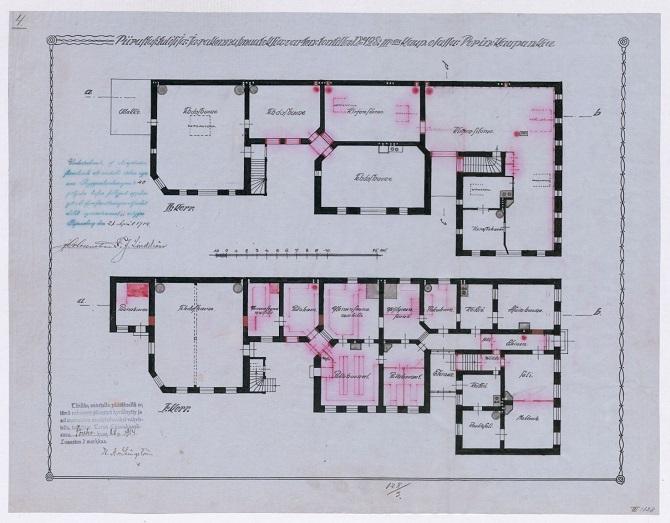 Elisabetin saunan rakennuspiirustukset vuodelta 1914. Piirustukset koskevat sisätilojen muutosta, jossa muutettavat kohteet on merkitty punaisella. Lähde: TMA, Porin maistraatin arkisto, rakennuspiirustukset, III kaupunginosa, tontti 128.