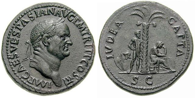 Esimerkki Judea Capta –tyypin kolikosta. Kyseessä on Roomassa vuonna 71 painettu sestertius. Vasemmalla Vespasianus, jonka päässä voittoa symboloiva laakerinseppele. Oikealla keskellä palmupuu. Puun oikealla puolella Juudeaa symboloiva sureva nainen. Vasemmalla vankia kuvaava mies, jonka kädet on sidottu. Kuvateksti alhaalla: S(enatus) C(onsulto) – senaatin määräyksestä/vahvistamana. (Kuvalähde:    Classical Numismatic Group, Inc. http://www.cngcoins.com/Wikimedia Commons   .)
