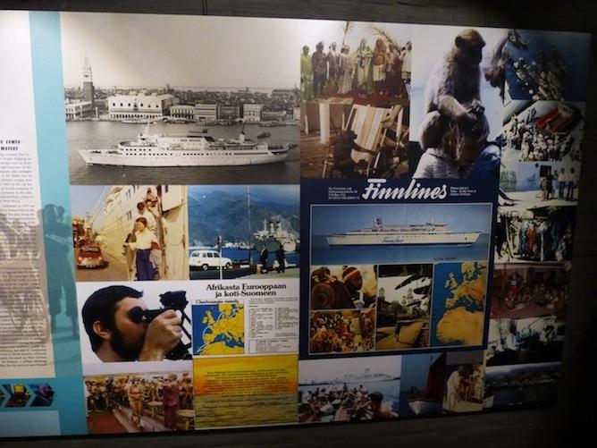 Erilaiset matkakuvat ja esitteet luovat ison osan näyttelyn visuaalisesta ilmeestä. Suomalaisalusten tekemät kaukomatkat suuntautuivat Välimerelle ja Länsi-Afrikan rannikolle. Kuvassa myös ristelyalukseksi uudistettu Finnstar.