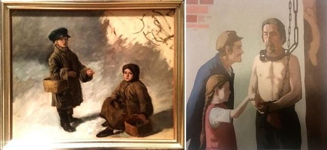 """Vasemmalta oikealle: Robert Wilhelm Ekman """"Kerjäläislapsia"""", n. 1849 & Juho Rissanen """"Rauta kaulassa"""", 1908."""