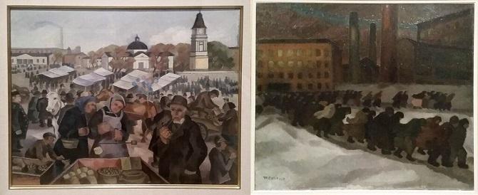 """Vasemmalta: Lennu Juvelan pirteä Tampere-aiheinen öljyvärimaalaus """"Markkinat Keskustorilla"""", 1931. Oikealla: helsinkiläisen Marcus Collinin synkät tehdastyöläiset öljyvärimaalauksessa """"Tehdastyöläisiä matkalla kotiin"""", 1917."""