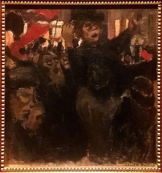 """Axel Gallen """"Punalippu/Tuokiokuva Helsingistä 1905 katumelskeestä"""", 1905."""