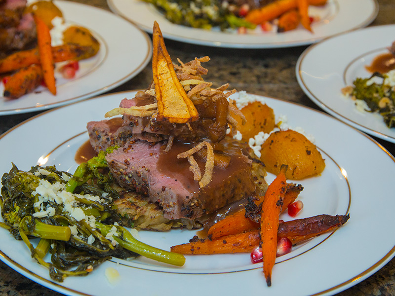 Beef Tenderloin with Roasted Potato, Carrots and Kale